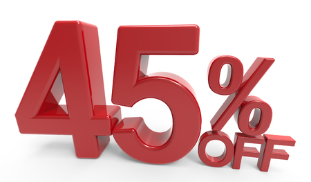 twisted 3d rendering of a 45% off symbol, isolated on white background