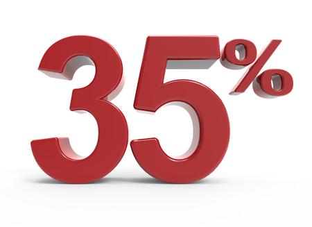 3d vykreslování 35% symbol, izolovaných na bílém pozadí