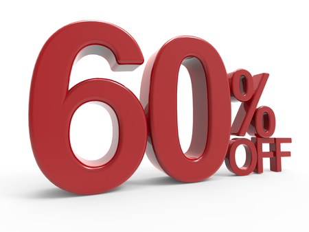 majority: 3d rendering of a 60% off symbol, isolated on white background, left leaning