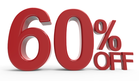 majority: 3d rendering of a 60% off symbol, isolated on white background Stock Photo