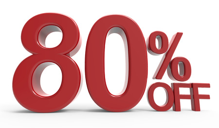 majority: 3d rendering of a 80% off symbol, isolated on white background