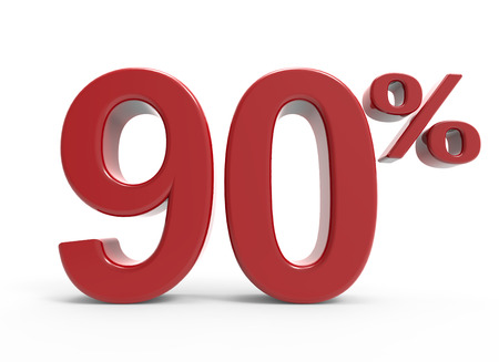 bargaining: 3d rendering of a 90% symbol, isolated on white background, Stock Photo