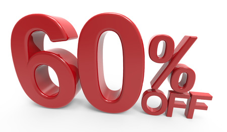 majority: twisted 3d rendering of a 60% off symbol, isolated on white background Stock Photo