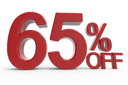 3d rendering of a 65% off symbol, isolated on white background,