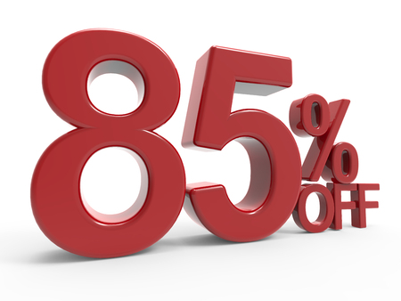 majority: 3d rendering of a 85% off symbol, isolated on white background, left leaning