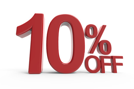 3d rendering of a 10% off symbol, isolated on white background