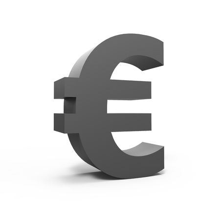 3D rendering grey euro sign isolated on white background