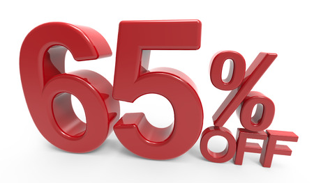 twisted 3d rendering of a 65% off symbol, isolated on white background Stock Photo