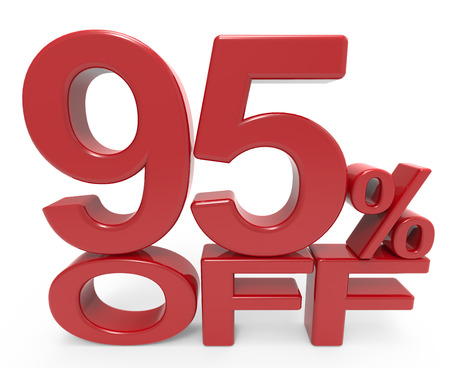majority: 3d rendering of a 95% off symbol, isolated on white background, Stock Photo
