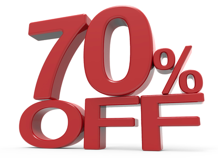right leaning 3d rendering of a 70% off symbol, isolated on white background Stock Photo