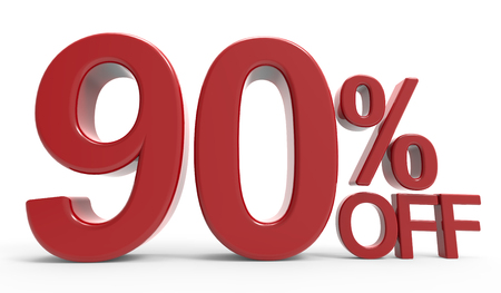 3d rendering of a 90% off symbol, isolated on white background