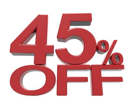3d rendering of a 45% off symbol, isolated on white background, Stock Photo
