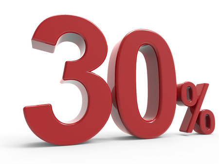 3d rendering of a 30% symbol, isolated on white background, left leaning Stock Photo