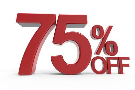 majority: 3d rendering of a 75% off symbol, isolated on white background,