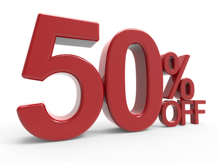 50  off: 3d rendering of a 50% off symbol, isolated on white background, left leaning