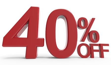 3d rendering of a 40% off symbol, isolated on white background