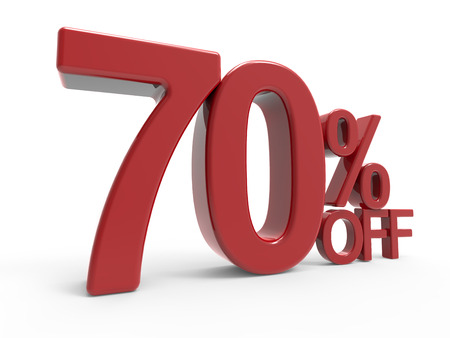 majority: 3d rendering of a 70% off symbol, isolated on white background, left leaning Stock Photo