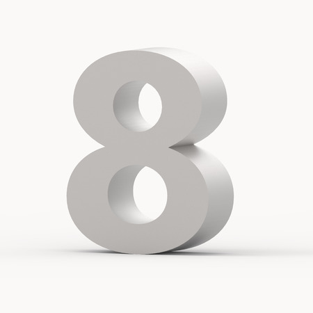 3d right leaning matte grey number 8, 3D rendering graphic isolated white background