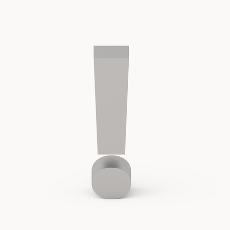 interjection: 3D rendering grey exclamation mark isolated on white background