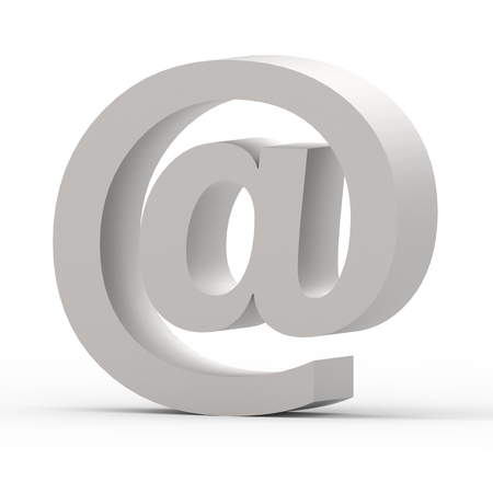 3D rendering grey Email symbol isolated on white background Stock Photo
