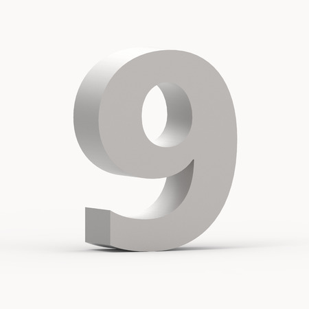 3d left leaning matte grey number 9, 3D rendering graphic isolated white background Stock Photo