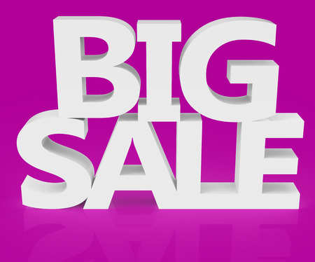 conspicuous: 3d rendering of white big sale, isolated on pink background
