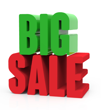 3d rendering of green and red big sale, isolated on white background, right leaning Stock Photo