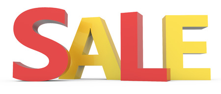 conspicuous: twisted 3d rendering of red and yellow sale, isolated on white background