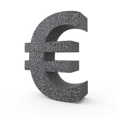 gravel: 3D rendering Gravel euro sign isolated on white background Stock Photo