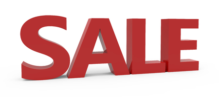conspicuous: 3d rendering of red sale, isolated on white background, left leaning