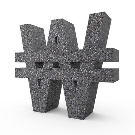 gravel: 3D rendering Gravel Won sign - South Korea money isolated on white background Stock Photo