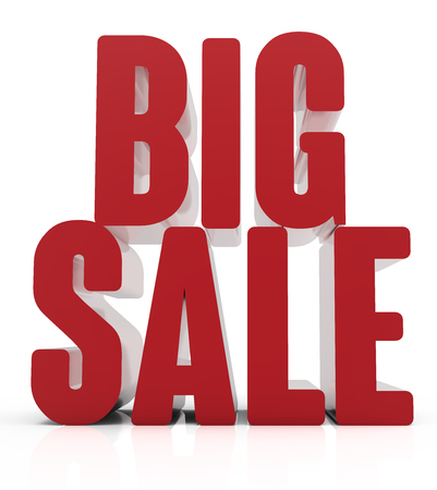 conspicuous: 3d rendering of red big sale, isolated on white background