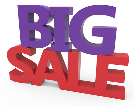 conspicuous: 3d rendering of red and purple big sale, isolated on white background, right leaning