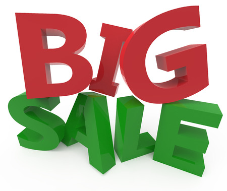 conspicuous: twisted 3d rendering of green and red big sale, isolated on white background, right leaning
