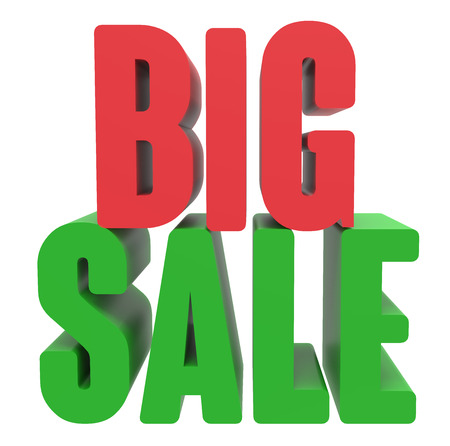 3d rendering of green and red big sale, isolated on white background Stock Photo
