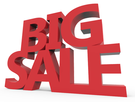 3d rendering of red big sale, isolated on white background, right leaning Stock Photo