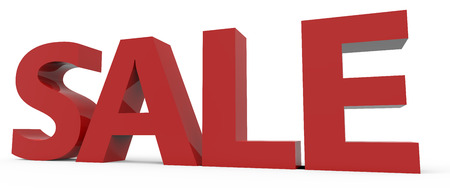 conspicuous: 3d rendering of red sale, isolated on white background, right leaning