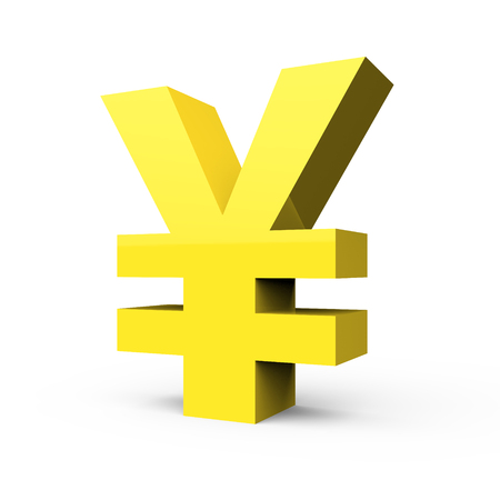 3D rendering light yellow yen symbol isolated on white background