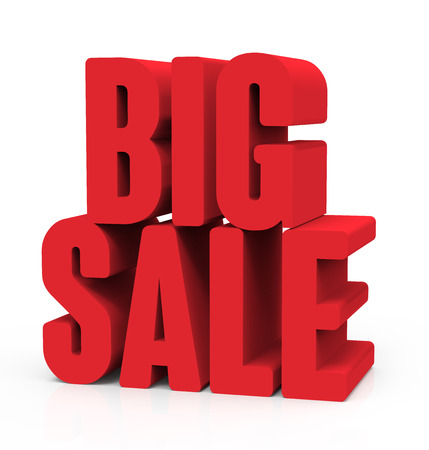 conspicuous: 3d rendering of red big sale, isolated on white background, right leaning Stock Photo