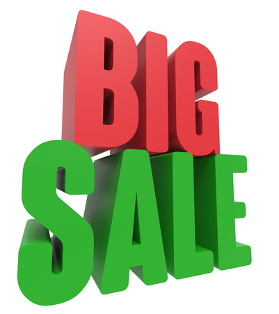 3d rendering of green and red big sale, isolated on white background, left leaning Stock Photo