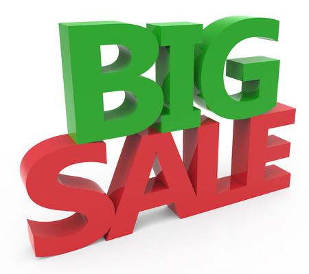 conspicuous: 3d rendering of green and red big sale, isolated on white background, left leaning Stock Photo