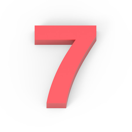top seven: 3d Light matte red number 7, 3D rendering graphic isolated white background
