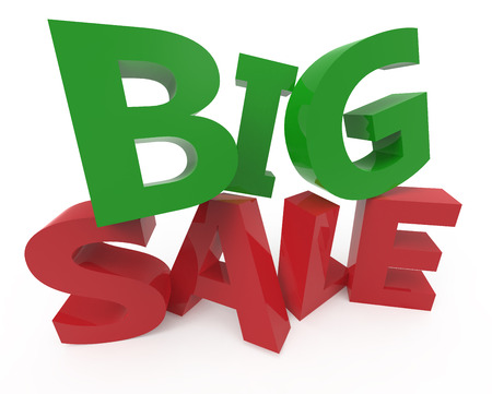 twisted 3d rendering of green and red big sale, isolated on white background, left leaning Stock Photo