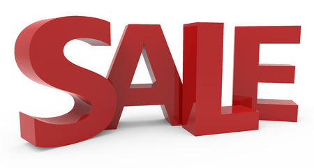 conspicuous: twisted 3d rendering of red sale, isolated on white background, left leaning