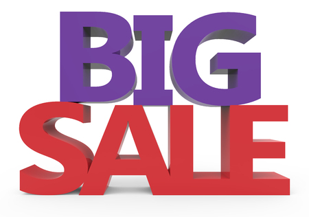 conspicuous: 3d rendering of red and purple big sale, isolated on white background