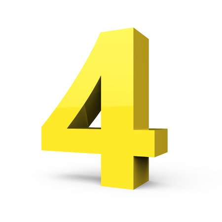 3d right leaning light yellow number 4, 3D rendering graphic isolated white background