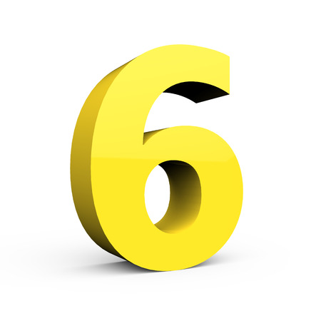 3d left leaning light yellow number 6, 3D rendering graphic isolated white background Stock Photo