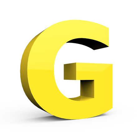 3d light yellow left leaning font G, 3D rendering graphic isolated white background