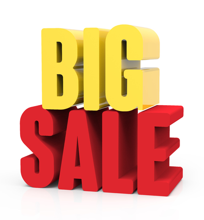 3d rendering of yellow and red big sale, isolated on white background, right leaning Stock Photo