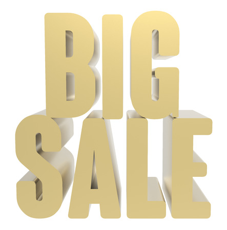 conspicuous: 3d rendering of golden big sale, isolated on white background